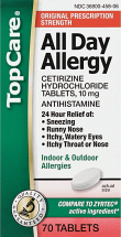 Top Care 70 ct. All Day Allergy product image.