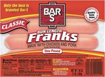 Bar S 1 lb.Select Varieties Franks product image.