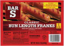 Bar S 16 oz. Select Varieties Franks product image.