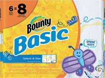 Bounty Basic 6 ct. Paper Towels or Charmin Essentials 12 ct. Select Varieties Bath Tissue product image.