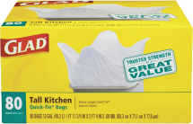 Glad 15-80 ct. Select Varieties Trash Bags product image.