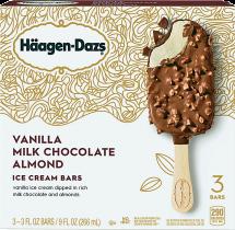 Haagen Dazs or Dreyer's 3 ct. Bars or 14-48 oz. Select Varieties Ice Cream product image.