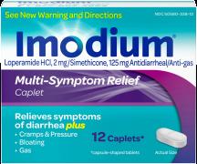 Imodium 12 ct. Mult-Symptom Caplets Stomach Relief product image.