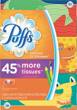 Puffs 3 ct. Family Pack Facial Tissue product image.
