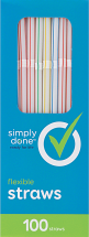 Simply Done 100 ct. Straws or 24 ct. Select Varieties Cutlery product image.