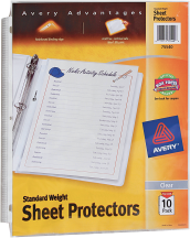 Avery Sheet Protectors or Helix Protractor & Compass Set product image.