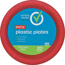 Simply Done 20-30 ct. Plastic Plates or Cups or 500 ct. Napkins product image.