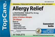 Top Care 30 ct. 24 Hour Allergy Relief product image.