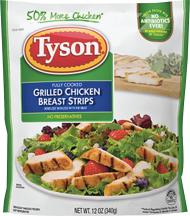 Tyson 12 oz.Strips or Diced Cooked Chicken product image.