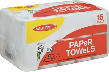 Valu Time 15 ct. Paper Towels or Simply Done 18 ct. Bathroom Tissue product image.
