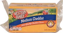 Western Family 32 oz. Medium Block or Select Varieties Shredded Cheese product image.