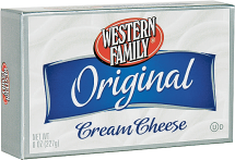 Western Family 8 oz. Original or Lite Cream Cheese product image.