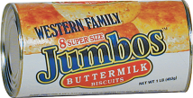 Western Family 16 oz. Select Varieties Jumbos Biscuits product image.