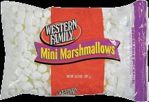 Western Family 10 oz. Regular or 10.5 oz. Mini Marshmallows product image.