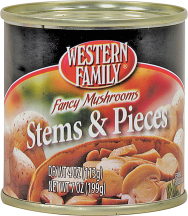 Western Family 4 oz. Stems & Pieces Mushrooms product image.