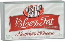 Western Family 8 oz. Original or 1/3 Less Fat Cream Cheese product image.
