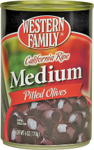 Western Family 6 oz. Select Varieties Olives product image.