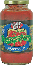 Western Family 12-16 oz. Pasta or 24 oz. Select Varieties Pasta Sauce product image.